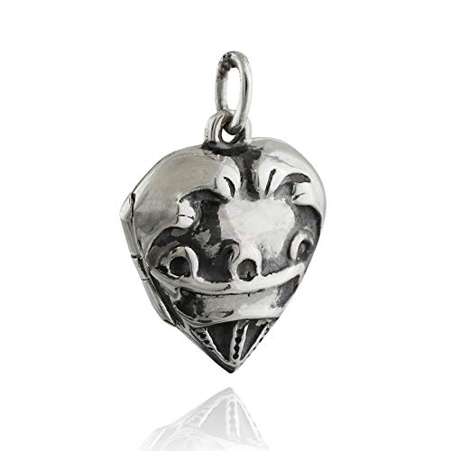 Pendant Jewelry Making Small Heart Photo Locket - 925 Sterling Silver - Embossed Hearts Love