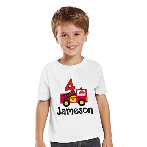 NanyCrafts Children's Firetruck - Fireman Birthday Boy Personalized Kids Shirts 2Y White ()