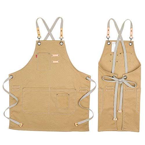 COOLYOUTH Cotton Apron for Men Women, Chef BBQ Grill Work Shop Aprons with Adjustable Strap (Yellow)