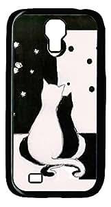 Galaxy S4 Case, Unique Design Protective Hard PC Black Love Cats Case Cover for Samsung Galaxy S4