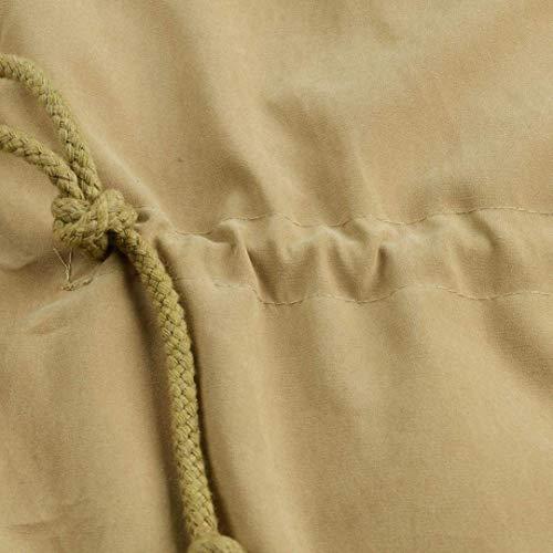 Moda Tasche Donne Cappotti Donna Cappuccio Invernali Confortevole Cerniera Outerwear Casual Outwear Colore Con Giacca Puro Coulisse Anteriori Classiche Khaki wxFIwSqH