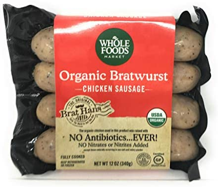 Whole Foods Market, Organic Chicken Sausage, Bratwurst (GAP - Step 3), 12 Ounce
