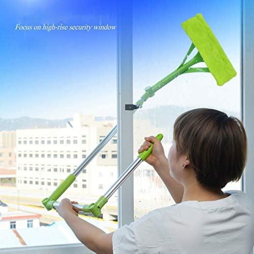 多機能伸縮式両面ウィンドウクリーナーウィンドウ、補助ロッドクリーニングブラシクリーナー付きガラスウィンドウスクレーパー-グリーン