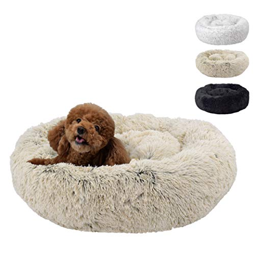 FuzzBall Fluffy Luxe Pet Bed, Calming Donut Cuddler – Machine Washable, Waterproof Base, Anti-Slip (for Small Dogs…