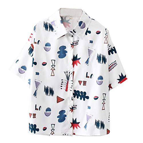 TANLANG ♥Women Lapel Collar Shirts Short Sleeve Cartoon Graffiti Print Button Down Loose Korean Shirt Mini Tunics Tees White