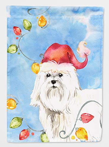(Caroline's Treasures CK2486CHF Christmas Lights Maltese Flag Canvas House Size, Large, Multicolor )