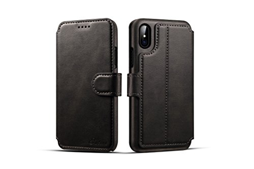 (iPhone X Wallet Case,TACOO Genuine PU Leather Magnetic Closure Protective Kickstand Flip Card Slot 360 Full Protection Flip Cover for Apple iPhone 10 2017 (Black))