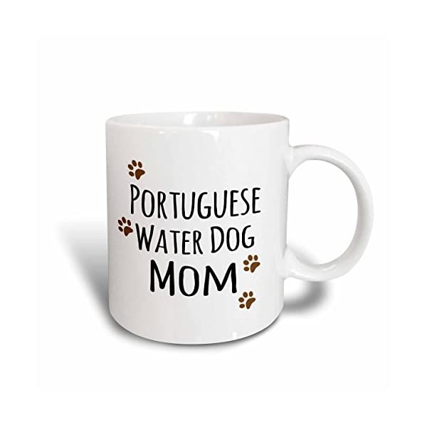 "3dRose 154177_5""Portuguese Water Dog Mom-Doggie by breed-muddy brown paw print Mug, 11 oz, Red 1"