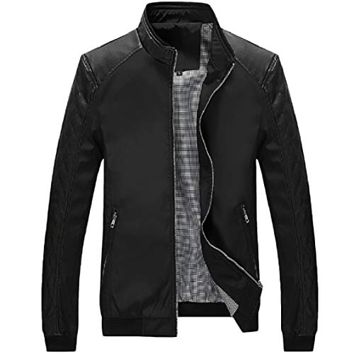 Lounge Collar Oversized Energy Coat Long Sleeve Jacket Pockets Stand Men's Black Zip awUwAx8q