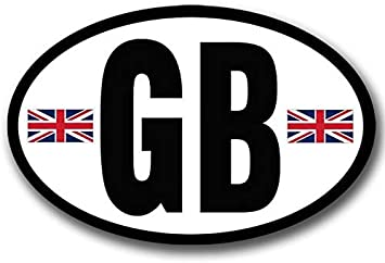 GB United Kingdom Country Code Oval Sticker Decal Vinyl British euro