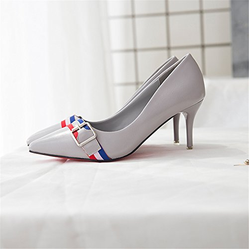 Grey Toe Shoe Pointy Pumps High Women Dress Heels Sexy Party qz4xX6