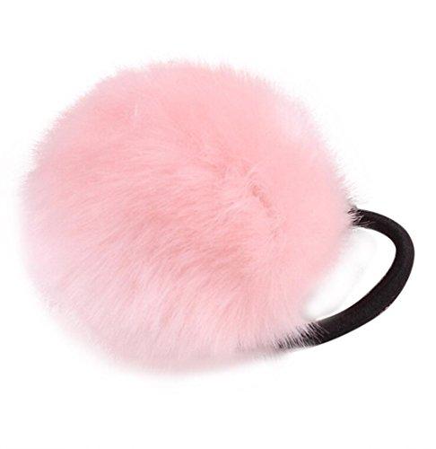 Dreamyth Fluffy Hair Band Elastic Pompom Hair Tie (Pink)