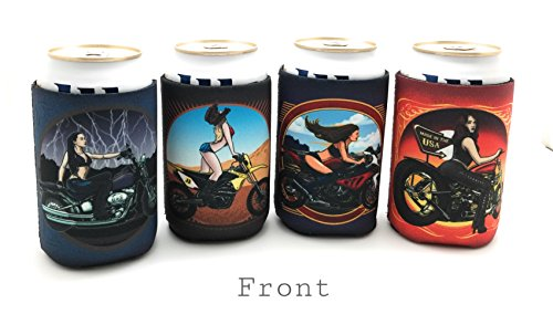 Biker Beer (Biker Chick Beer Cozy 4 pk ~ Motorcycle Tattoo Art for Cans and Bottles, Off Roading, Motocross, Street Racing, Touring, Camping, Endro, Dirt Bikers, Parties, Gifts, Gear and Accessories)