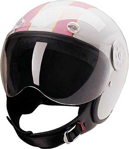 HCI Open Face Fiberglass Motorcycle Helmet - White w/ Pink Stripes 15-620 (XL)