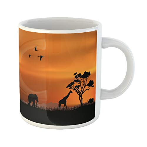 Africa Mug - Semtomn Funny Coffee Mug Safari African Nature Africa Silhouette Vector Sunset South Savannah Tree 11 Oz Ceramic Coffee Mugs Tea Cup Best Gift Or Souvenir