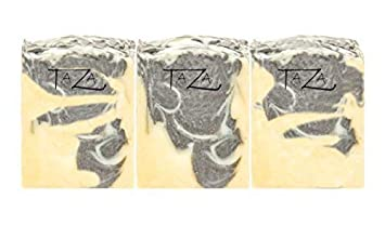 Premium Taza Tea Tree Charcoal Natural Soap Pack of 3 Each 5.3 oz 150 g For Powerful Cleansing Contains Tea Tree OIl, Activated Charcoal Coconut, Olive Palm Fruit Oils, Mango Butter