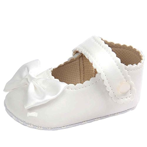 Auxma Zapatos de bebé, Niña Bowknot Zapatos de cuero suave Blanco