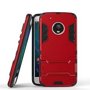 Funda para Motorola Moto G5 Plus (5,2 Pulgadas) 2 en 1 Híbrida Rugged Armor Case Choque Absorción Protección Dual Layer Bumper Carcasa con pata de Cabra (Rojo)