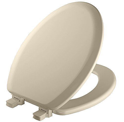 Mayfair Molded Wood Toilet Seat with Easy Clean & Change Hinges and STA-TITE Seat Fastening System, Elongated, Bone, 141EC 006 - Toilet Seat Bone