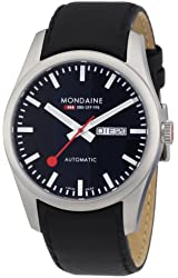 Mondaine Mens Retro Day/Date Automatic Watch - Black Leather Strap and Dial