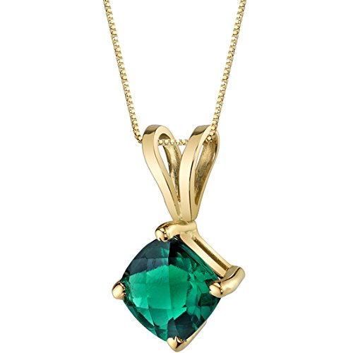 14 Karat Yellow Gold Cushion Cut 0.75 Carats Created Emerald Pendant ()