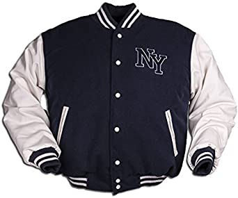 NY Chaqueta de Béisbol M. Patch, color Azul Marino/Blanco