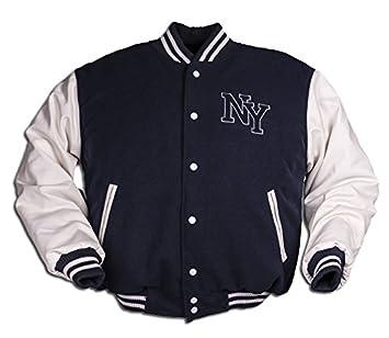 NY Chaqueta de Béisbol M. Patch, color Azul Marino/Blanco