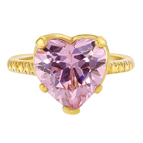 18k Yellow Gold Plated Pink Heart Crystal Baby Girls Ring (Class Rings For Girls)