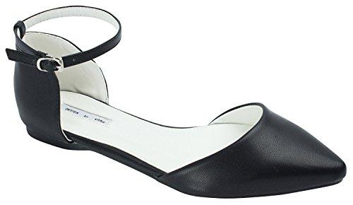 Leather Black strap Ankle Flat D'Orsay Faux Womens qnZ5U1wYx