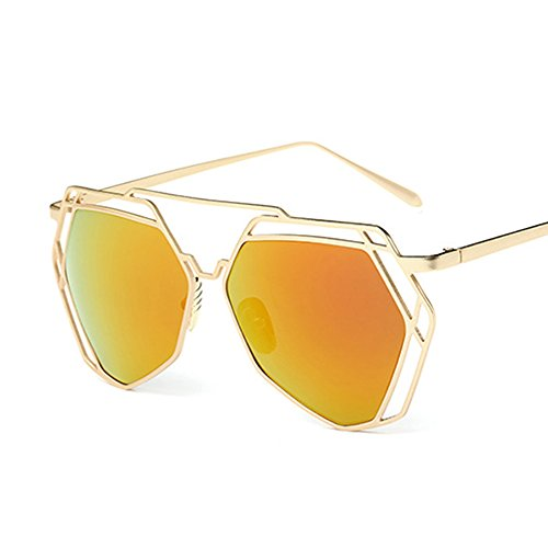 Red Lens Gold Frame Sunglasses : BVAGSS Fashion Mirrored Sunglasses Metal Frame Flat Womens ...