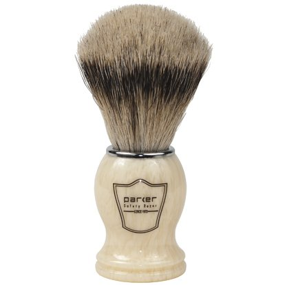 (Parker Safety Razor 100% Silvertip Badger Bristle Shaving Brush (Ivory Handle) & Free Shaving Brush Stand)