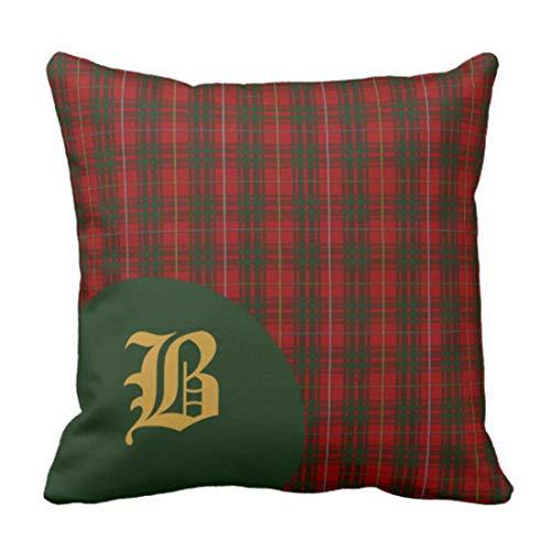 Kidmekflfr Throw Pillow Cover Classic Scottish Bruce Clan Tartan Plaid Monogram Decorative Pillow Case Green Home Decor Square 18 x 18 Inch Cushion Pillowcase ()