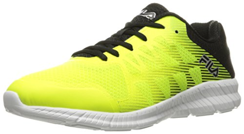 Fila Men's Memory Finity Running Shoe, Safety Yellow/Black/Metallic Silver, 13 M US