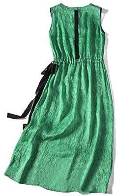 FELICILL Hem de Seda Verde con Cuello en V Vestido de la Falda sin ...