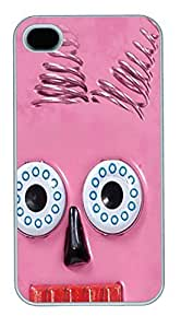 IPhone 4S Cases Big Face Pink Robot Polycarbonate Hard Case Back Cover for iPhone 4/4S White