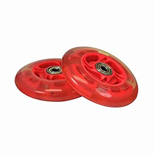 Red 100 mm (98 mm Replacement) Razor Light-Up Flashing Kick Scooter Wheel with Bearings (Set of 2)