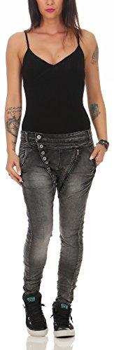 L1814 Baggy Stretch Look Lexxury Zarmexx Ladies Denim Da Jeans Distrutto Fidanzati Nero xw6Pq