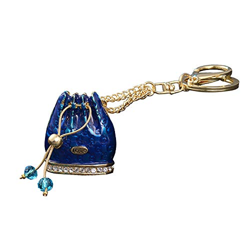 GH8 Kawaii Cute Rhinestone Women Bucket Bag Shape As Charms Car Key Chains Key Ring Tassels Keyring Keychains linnor Women Bag Charms DIY (Blue)