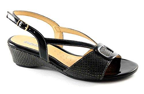 MELLUSO 8735 zapatos de mujer sandalias de cuña negro correa de diamantes de imitación Nero