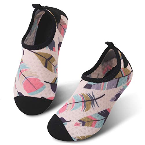 JIASUQI Outdoor Walking Aqua Water Shoes for Kids Boys Gilrs Orange Leaf US 4-4.5 M Big Kid