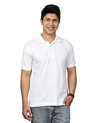 Rodid Solid Men Polo Neck Half Sleeve X-Large Size White Shirt