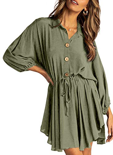 Happy Sailed Womens Long Lantern Sleeve Shift Dress Button V-Neck High Waist Mini Dress X-Large Green (Flowy Spring Dresses For Women)