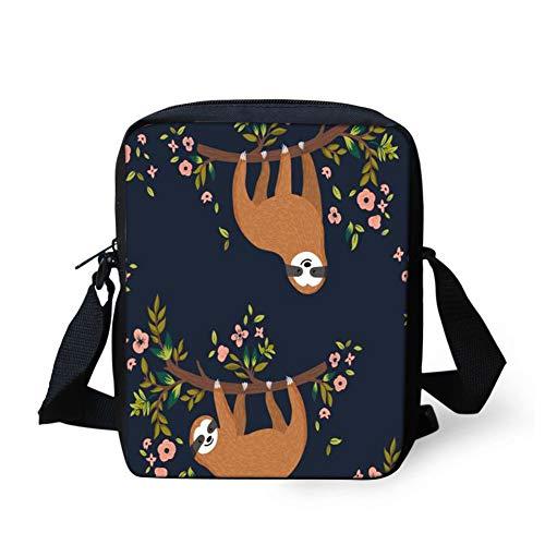 (HUGS IDEA Sloth on the Tree Pattern Funny Women's Shoulder Handbag Small Messenger Crossbody Bag Cellphoe Purse Coin Wallet)