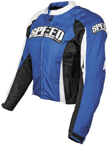 Speed & Strength Womens Throttle Body Textile Motorcycle Jacket Blue Large