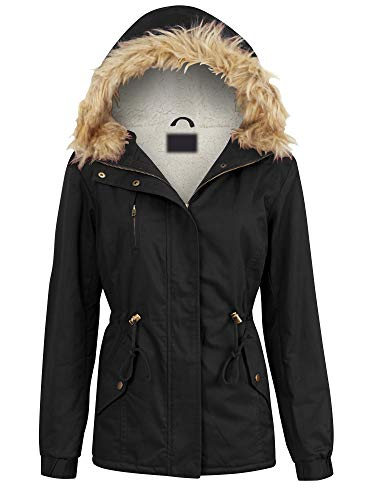 Made By Johnny MBJ WJC2068 Womens Inner Fur Lined Military Anorak Parka Jacket Detachable Hood Fur Trim L Black
