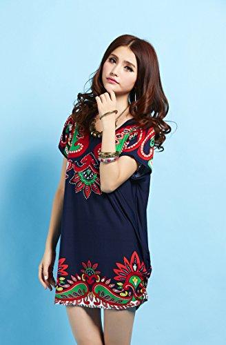 Solilor Women's Short Sleeve Loose Blouse Shirt Plus Size Summer Dresses, Dark Blue, One Size