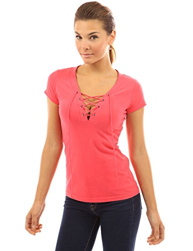 (PattyBoutik Women V Neck Lace Up Short Sleeve Blouse (Coral Pink Large))