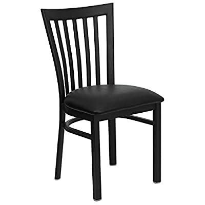 Flash Furniture HERCULES Series Black School House Back Metal Restaurant Chair - Vinyl Seat - Heavy Duty Metal Restaurant Chair School House Style Back Black Vinyl Upholstered Seat - kitchen-dining-room-furniture, kitchen-dining-room, kitchen-dining-room-chairs - 41iMSYGSyVL. SS400  -