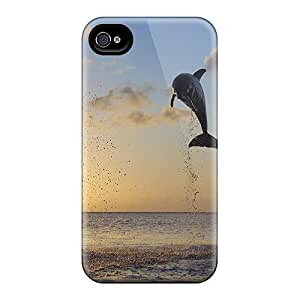 MMZ DIY PHONE CASENew Arrival Iphone 4/4s Case Dolphins Sunset Case Cover
