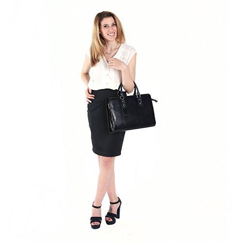 in Borsa lavoro Ventiquattrore Blu 35x26x11 da Cm Cartella Made Mano Portadocumenti Donna in Italy a pelle da x0Rwwt1q7H